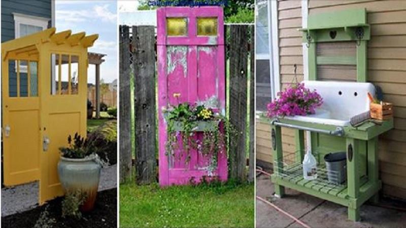 20 magnifiques id es pour d corer votre jardin avec une vieille porte. Black Bedroom Furniture Sets. Home Design Ideas